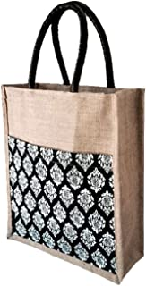 Foonty Women's Jute Lunch Bag for Daily Use (Black, 6300)