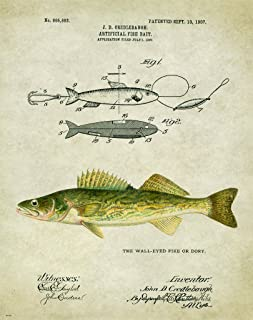 Antique Fly Fishing Lure US Patent Poster Art Print Trout Largemouth Bass Walleye Muskie Lures Poles 11x14 Wall Decor Pictures