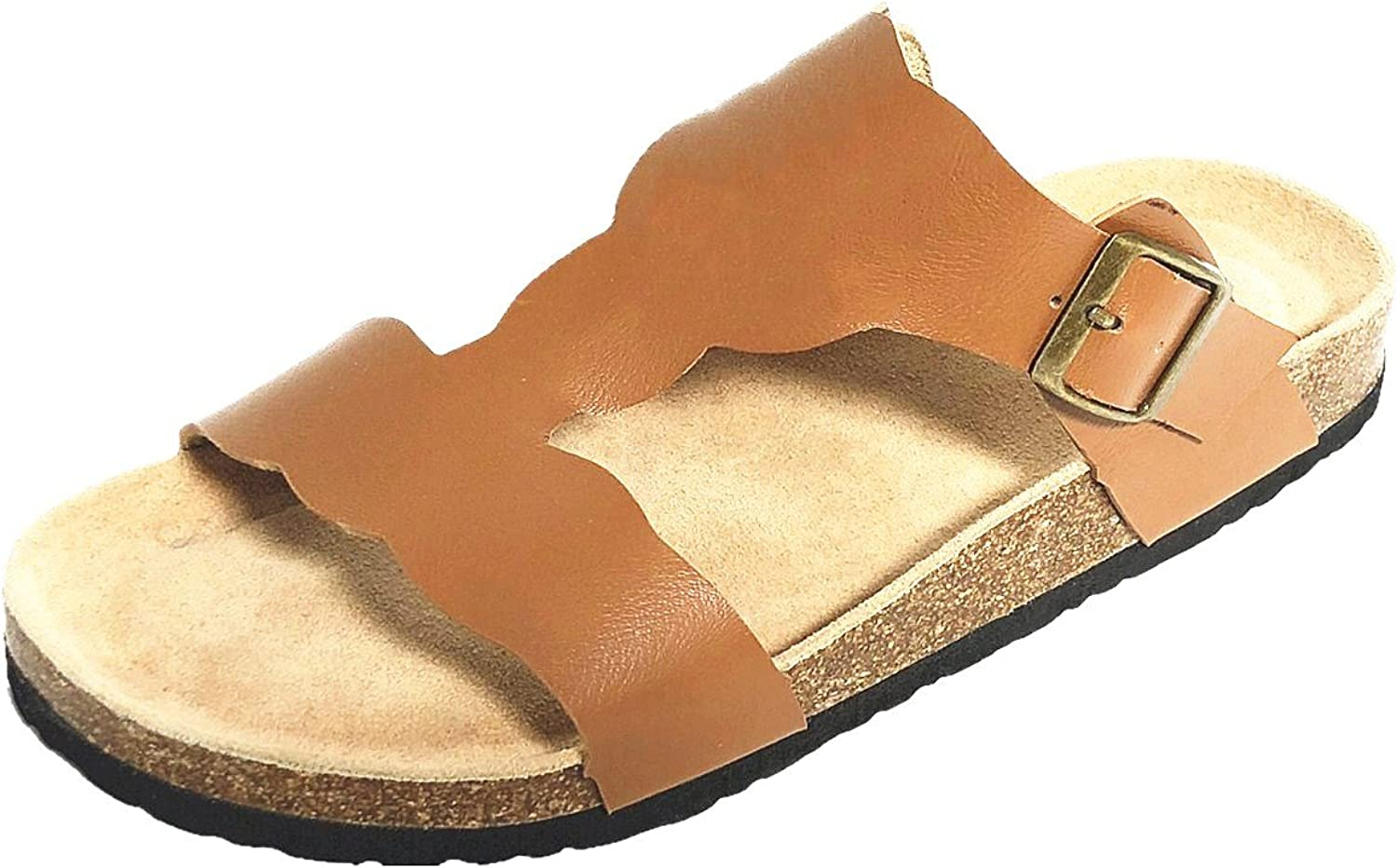 MONOBLANKS Women Flat Leather Cork Sandals with Adjustable Strap Can be Monogrammed