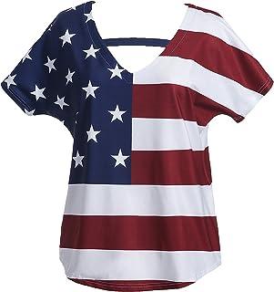 Taiduosheng Womens Short Sleeve V-Neck American Flag Blouses Tee Shirt USA Tops T-Shirt