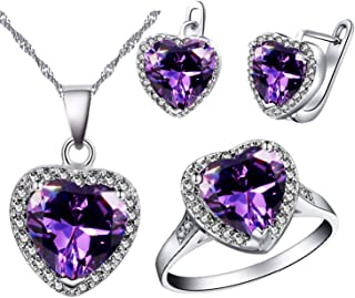 Big Heart Shape Crystal Drop Pendant Necklace, Earrings and Rings Wedding Jewelry Set for Bridal Women Birthday Anniversary T481