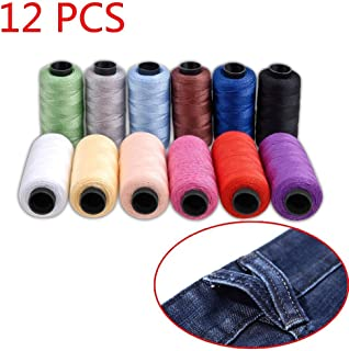 Candora Jeans Thread Set,Polyester Sewing Thread Coil 12 Color 180 Yards/165m Very Thick for Denim Leather Quilt Blanket Cushion Curtain Handwork