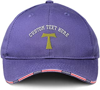 Custom American Flag Hat St. Anthony Cross Embroidery Design Cotton