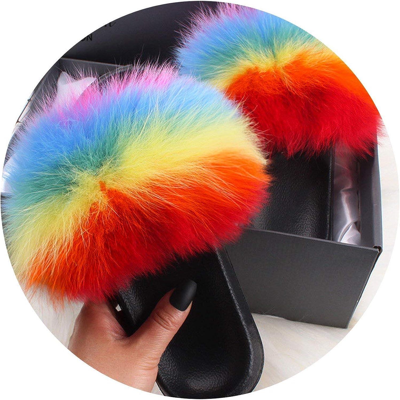 Fox Hair Slippers Lady Flip Flop Slides Summer Beach Fox Fur Sandals Plus