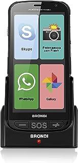 Brondi Amico Smartphone +, versione aggiornata con base di ricarica, Telefono Cellulare per Anziani GSM DUAL SIM con Tasti...