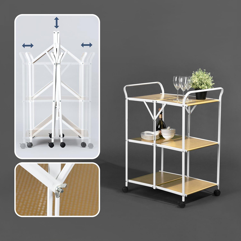 Homy Casa Folding Metal Kitchen Trolley 3 Tiers Rolling Cart Trolly,Bathroom Organizer Shelves Handle,Easy Moving