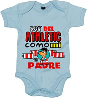 Body bebé soy del Athletic como mi padre Jorge Crespo Cano - Celeste, 6-12 meses
