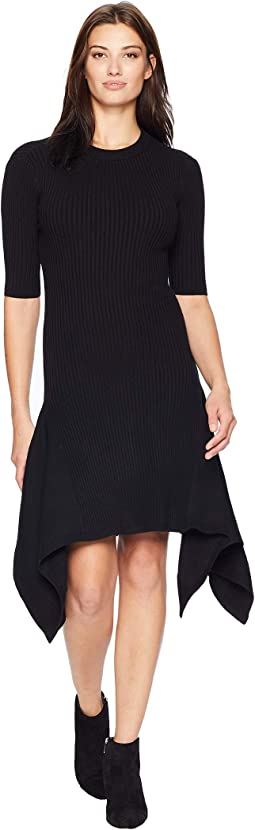 Elbow Sleeve Ribbed Knit with Asymmetrical Hem