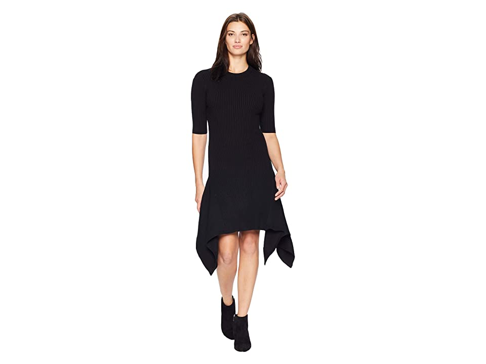 Vince Camuto Elbow Sleeve Ribbed Knit with Asymmetrical Hem (Black) Women