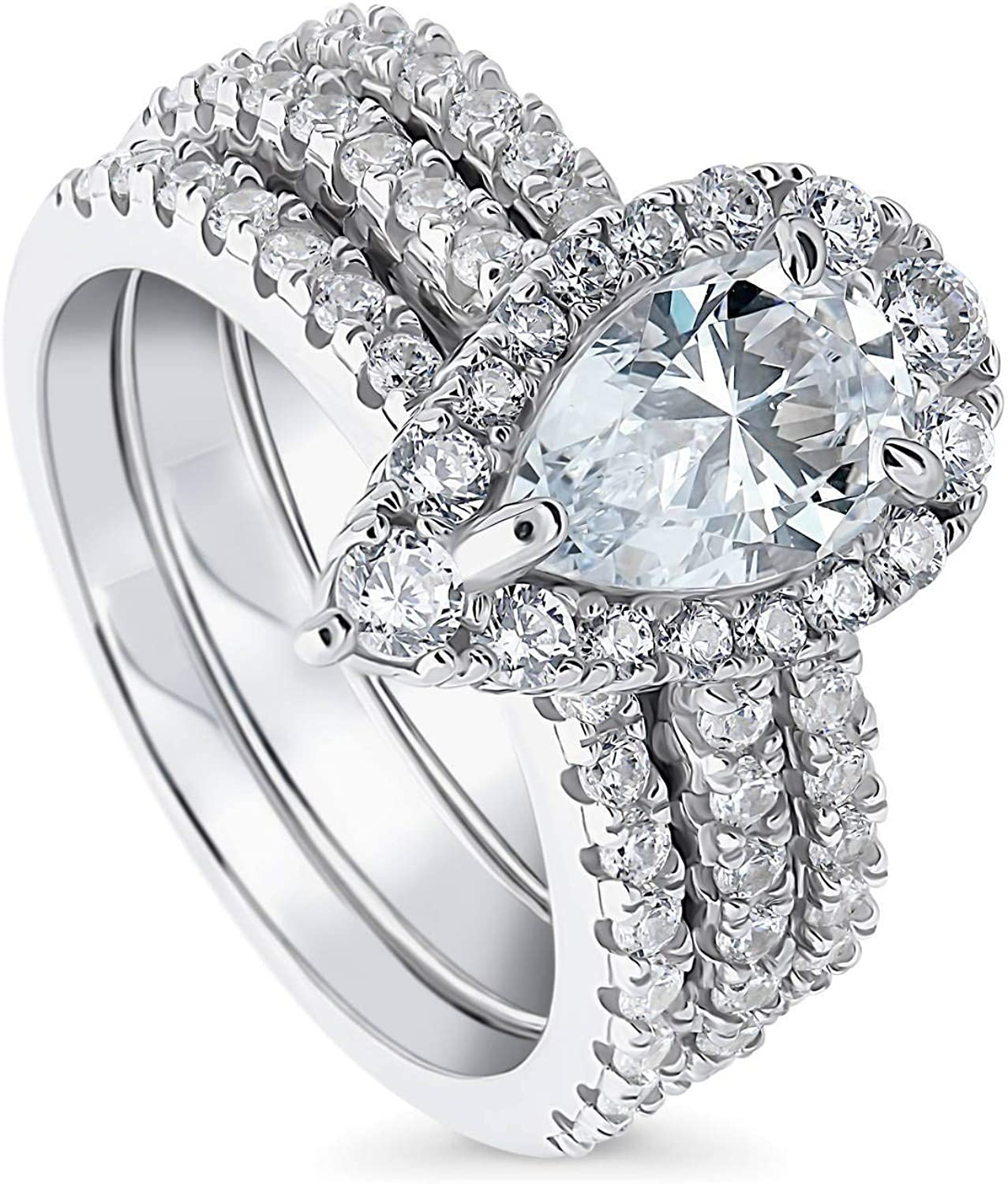 Ranking TOP7 online shop BERRICLE Rhodium Plated Sterling Silver Cut Pear Zirconia Cubic