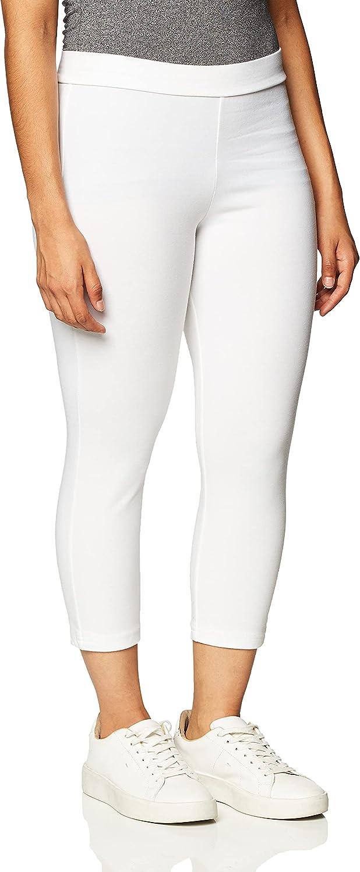 HUE Women's Wide Waistband Blackout Cotton Capri Leggings, Assorted