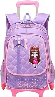 Fanci Cute Bowknot Waterproof Rolling School Bag Backpack on Wheels Princess Style Trolley Wheeled Backpack Carry on Lugga...