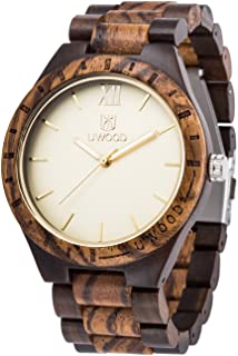 Watch for Men,MUJUZE Luminous Pointers Handmade Wooden Wrist Watches Men In Gold Dial