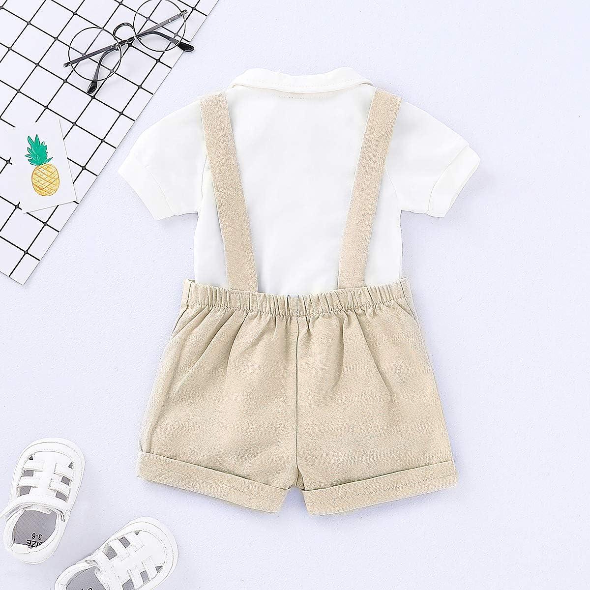 Shorts Bretelle 0-24 Mesi Borlai 2 Pezzi//Set Baby Boy Gentlemen Suit Pagliaccetto Moda