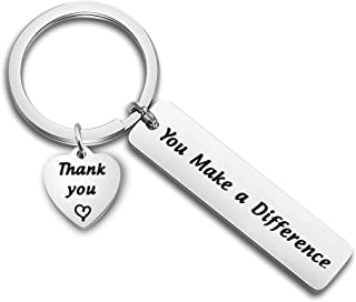 TGBJE Thank You Gift You Make a Difference Keychain Stainless Steel Keyring Gift for Volunteer Appreciation,Coach Mentor Gift,Employee Gift
