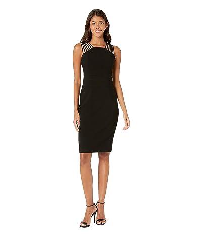 Halston Heritage Sleeveless Square Neck Shoulder Strips Crepe Dress (Black 1) Women