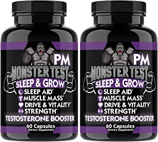 Angry Supplements Monster Test PM Testosterone Booster Plus Sleep Aid, Boost T-Levels w. All Natural Pill Powerful & Potent Ingredient, Boost Energy in Gym + Bedroom Performance (2-Bottles)