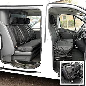 Custom Covers SC188B-SC189B Tailored Heavy Duty Waterproof Front  amp  Rear Seat Covers Black