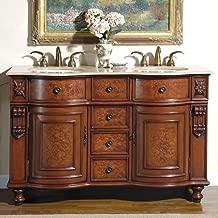 Silkroad Exclusive JYP-0192-T-UIC-55 Countertop Travertine Double Sink Bathroom Vanity with Furniture Cabinet, 55