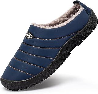 Mishansha Warm gevoerde pantoffels voor dames en heren, met dikke zool, maat 35-46