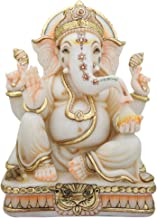 Ganesha Murti Statue,12inches, Gold Leaf Work Ganpati Figurine, Marble Ganapati Idol Vinayak Deity Elephant Head God Home ...