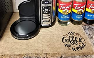 Burlap Coffee Placemats, No Coffee No Workee Place Mat For Coffee Machine, Mat For Coffee Maker, Coffee Station Decor, Coffee Lovers Gift, Single Placemat For Coffee Bar
