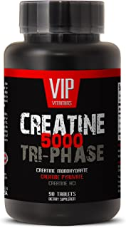 Creatine Tri-Phase 5000 - Premuim Blend of Creatine Monohydrate, Creatine HCL and Creatine Pyruvate (1 Bottle 90 Tablets)