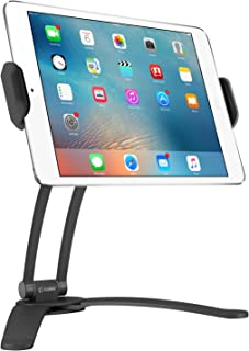 Cellet Kitchen Tablet Mount Stand 2-in-1 Wall, Table, Counter Top, Desktop Mount Recipe Holder Stand for iPad/Pro/Air/Mini, Micro Surface Pro,Galaxy Tab, ChromeBook, Pixelbook and More - Black