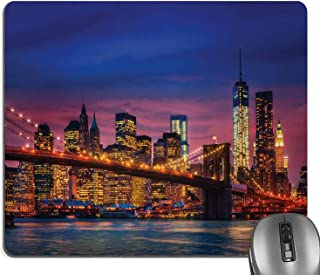 Knseva New York Mouse Pad, NYC That Never Sleeps Reflections on Manhattan East River City Image Photo Print Mouse Pads