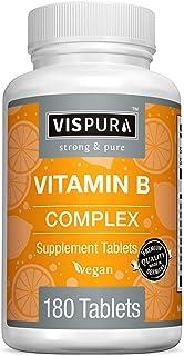 Vitamin B-Complex, 180 Vegan Tablets, All B Vitamins Including B12, B1, B2, B3, B5, B6, B7, B9, Folic Acid, for Stress, En...