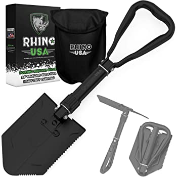 Rhino USA Folding Survival Shovel w/Pick - Heavy Duty Carbon Steel Military Style Entrenching Tool for Off Road, Camping, Gardening, Beach, Digging Dirt, Sand, Mud & Snow - Guaranteed for Life!…
