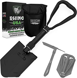 Rhino USA Folding Survival Shovel w/Pick – Heavy Duty Carbon Steel Military Style..