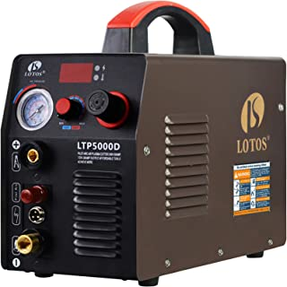 Lotos LTP5000D 50Amp Non-Touch Pilot Arc Plasma Cutter, Dual Voltage 110V/220V, 1/2 Inch Clean Cut, Brown
