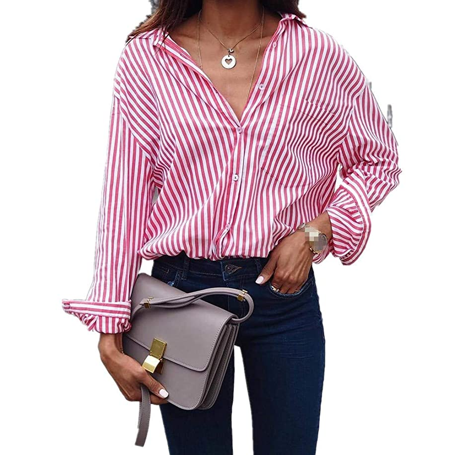 Fashion Women Lady Casual Cotton Long Sleeve Striped Loose Shirt Blouse Loose Vertical Stripes Tops