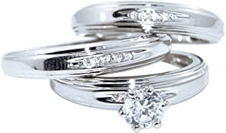 66653d5ea Diamond Scotch 14K White Gold Over Solitaire Men and Women Couple His and Hers  Trio 3