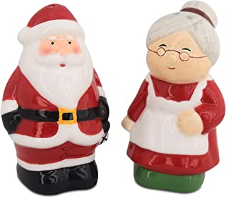 Christmas Salt and Pepper Shakers, Santa & Mrs Claus Holiday Ceramic Set, Holiday Decor, Barclay's Buys