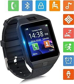 Smartwatch Bluetooth Reloj Inteligente y Ranura para Tarjeta SIM con Rastreador de Actividad Podómetro Cronómetros Reloj de Fitness Reloj Iinteligente Hombre Mujer niños Android/iOS Phone (Negro)