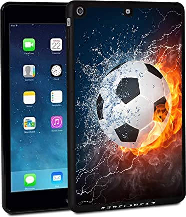 iPad 9.7 Inch 2018 Case,iPad Air 2 Case,Rossy Shockproof Hard Shell Rubber Bumper Protective Case with Water Fire Soccer Ball Pattern and Kickstand for Apple iPad 9.7 Inch 6th Generation