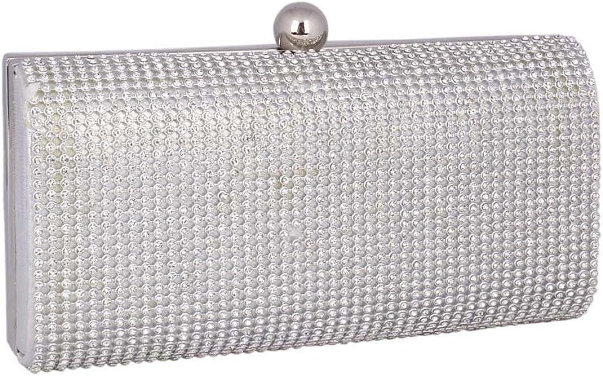 Adoptfade Womens Sparkly Evening Bag Beaded Clutch metal Frame