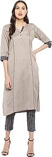 Janasya Women's Grey Pure Cotton Kurta With Pant