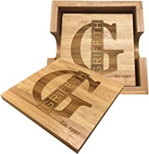 Personalized Initial and Name Bamboo Coasters - Set of 4.