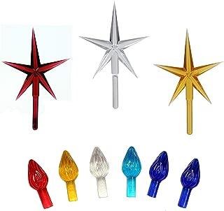 Creative Hobbies Ceramic Christmas Tree Replacement Lights, Medium Twist Light Ornaments, 100 Pc Multi Colors Plus 3 Tree Topper Stars