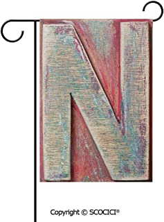 SCOCICI Double Sided Washable Customized Unique 12×18(in) Garden Flag Sketch Style Colorful N Letter with Soft Featured Grunge Character Decorative,Dark Coral Ivory Seafoam,Flag Pole NOT Included