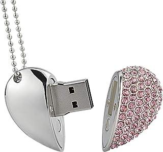 RAOYI 64GB USB 2.0 ذاكرة فلاش كريستال شكل قلب USB عصا مجوهرات قلادة قلادة ذاكرة الإبهام عصا بيندريف الوردي