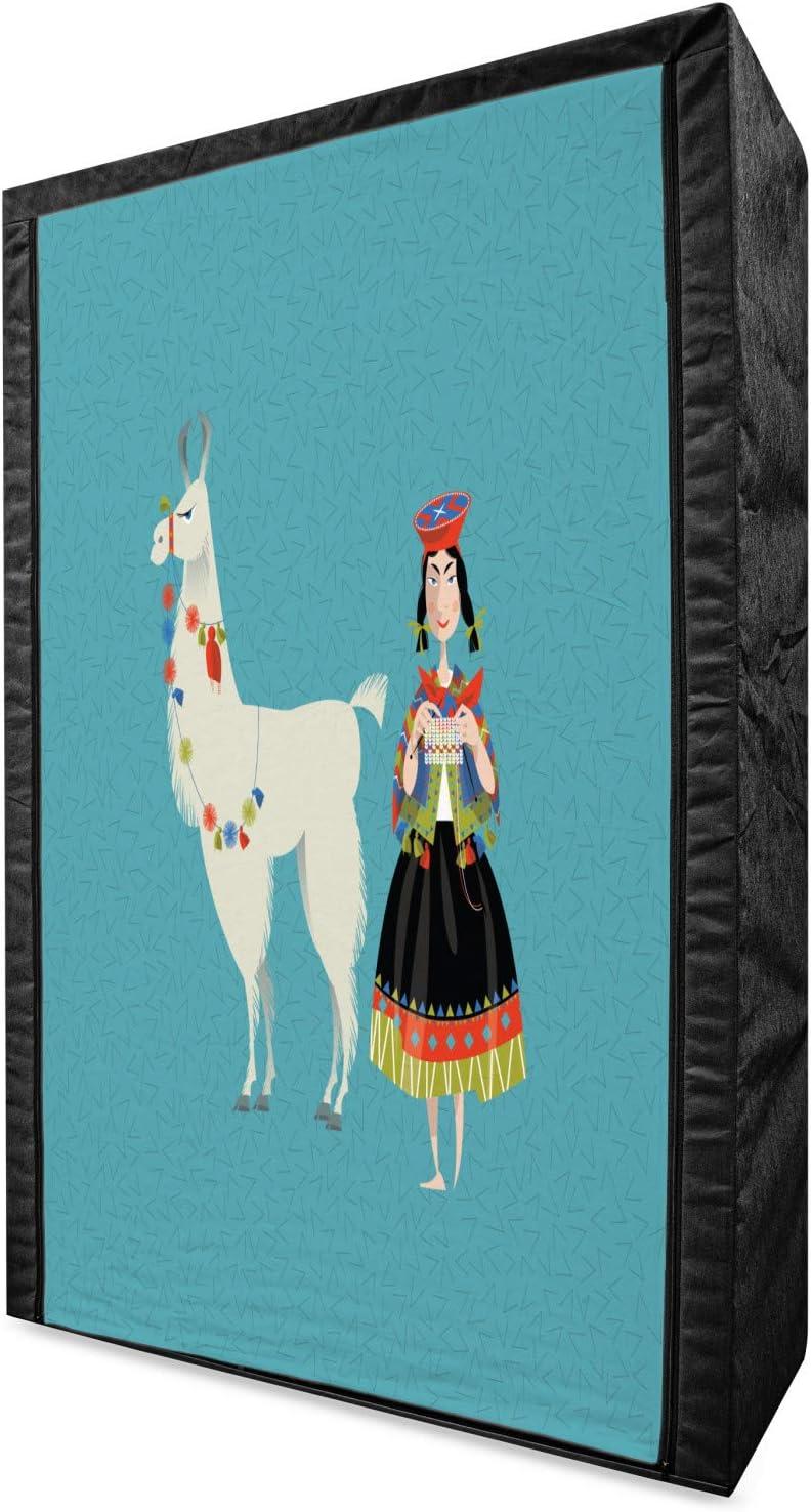 Ambesonne Llama Portable Fabric Wardrobe, Peruvian Woman Knittin