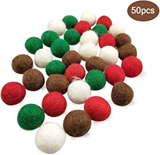 red and green felt balls