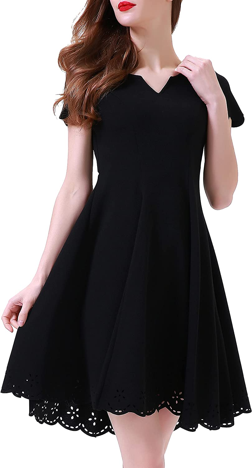 Aphratti Women's A Line Cute Cocktail Party Short Sleeve Scalloped Skater Dress
