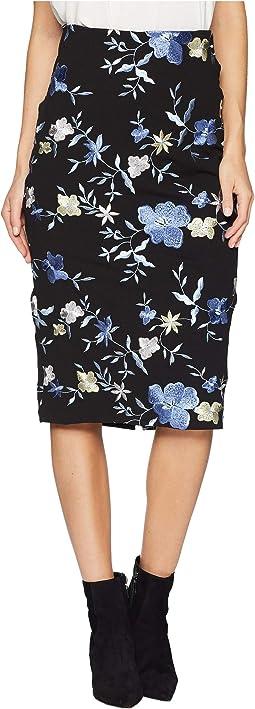 Scuba Floral Midi Skirt