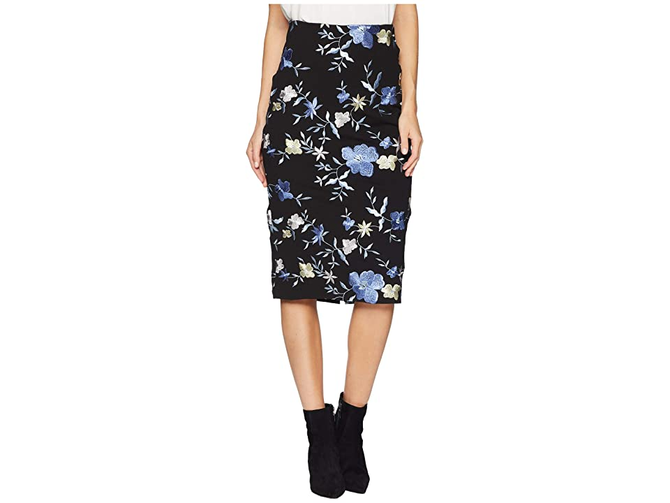eci Scuba Floral Midi Skirt (Black/Blue) Women