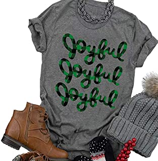 Beopjesk Women's Buffalo Plaid Tees Casual Short Sleeve Merry Letter Printed Graphic Blouse Tops